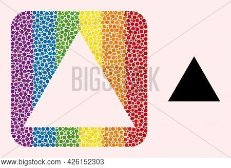 Dotted Mosaic Triangle Subtracted Pictogram For Lgbt. Color Rounded Rectangle Mosaic Is Around Trian