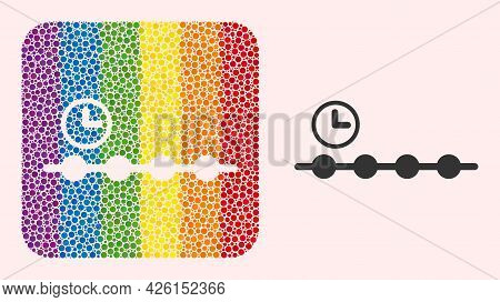 Dotted Mosaic Timeline Subtracted Icon For Lgbt. Multicolored Rounded Rectangle Mosaic Is Around Tim