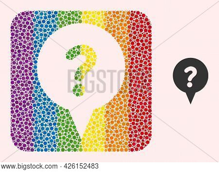 Dotted Mosaic Question Banner Carved Pictogram For Lgbt. Color Rounded Square Mosaic Is Around Quest