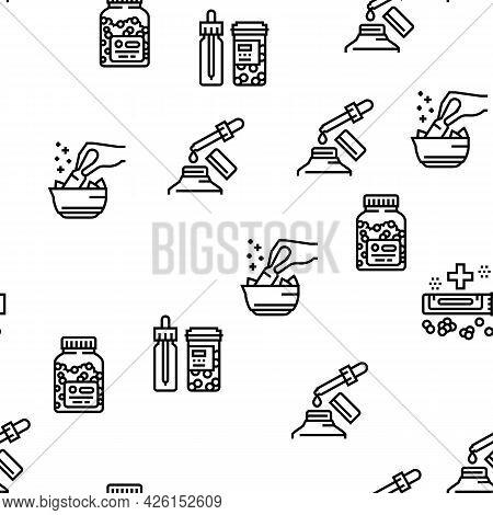 Homeopathy Medicine Collection Icons Set Vector. Medicaments And Vitamins Prepared From Natural Bio
