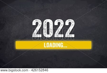 Black Chalkboard With Yellow Loading Bar And Message Loading 2022