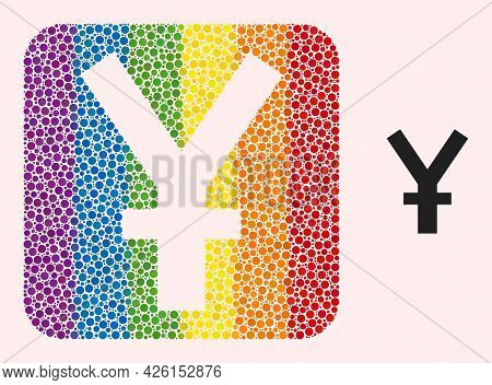 Dot Mosaic Yuan Currency Hole Pictogram For Lgbt. Rainbow Colored Rounded Square Mosaic Is Around Yu
