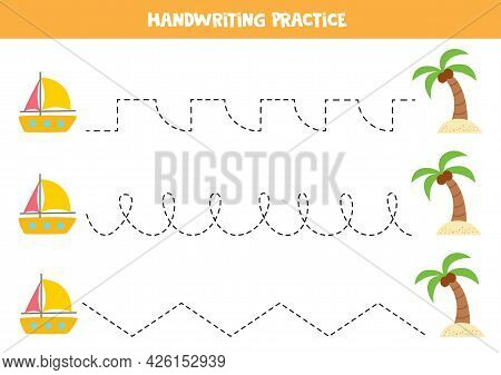 Tracing Lines For Kids With Cartoon Yacht And Palm. Summer Worksheet.