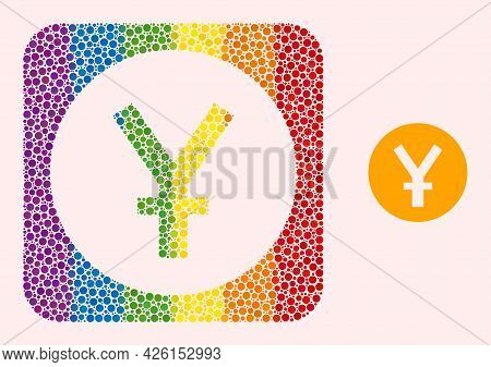 Dotted Mosaic Yuan Coin Stencil Icon For Lgbt. Rainbow Colored Rounded Rectangle Mosaic Is Around Yu