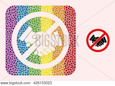 Dot Mosaic Stop Handshakes Subtracted Pictogram For Lgbt. Multicolored Rounded Square Mosaic Is Arou