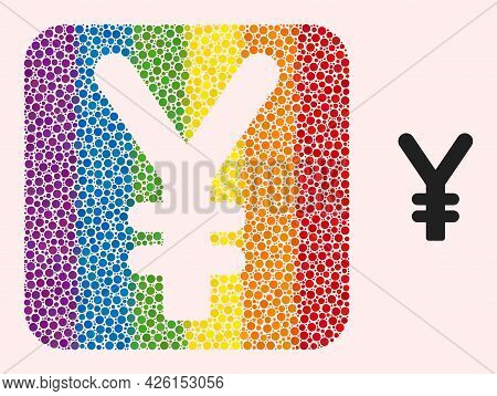 Dot Mosaic Yen Currency Stencil Icon For Lgbt. Rainbow Colored Rounded Square Mosaic Is Around Yen C