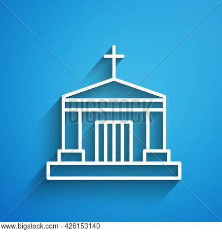 White Line Old Crypt Icon Isolated On Blue Background. Cemetery Symbol. Ossuary Or Crypt For Burial