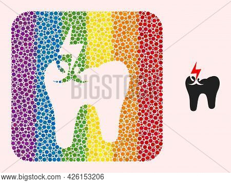 Dotted Mosaic Tooth Crash Subtracted Icon For Lgbt. Colorful Rounded Rectangle Mosaic Is Around Toot