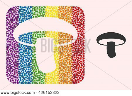 Dotted Mosaic Mushroom Hole Icon For Lgbt. Rainbow Colored Rounded Square Mosaic Is Around Mushroom