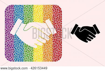 Dotted Mosaic Hand Take Hole Icon For Lgbt. Rainbow Colored Rounded Rectangle Mosaic Is Around Hand