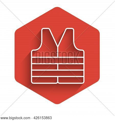 White Line Life Jacket Icon Isolated With Long Shadow. Life Vest Icon. Extreme Sport. Sport Equipmen