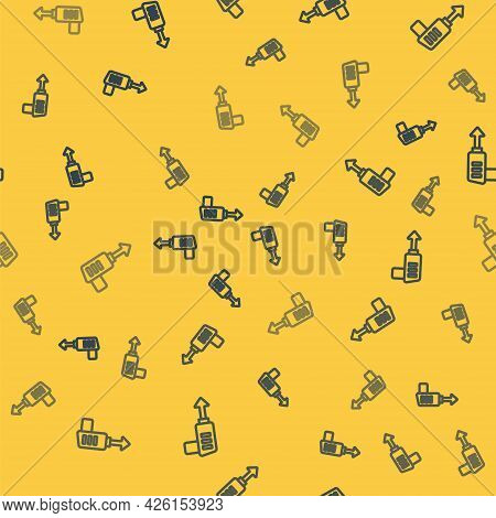 Blue Line Fishing Harpoon Icon Isolated Seamless Pattern On Yellow Background. Fishery Manufacturers