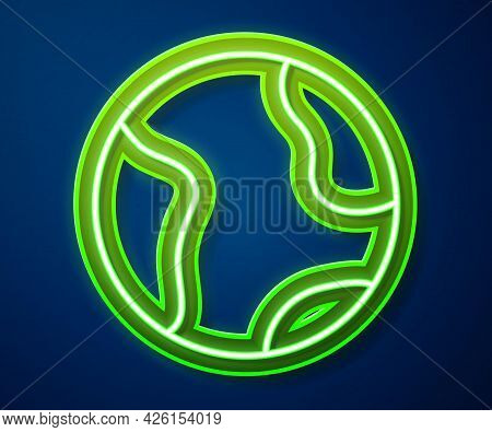 Glowing Neon Line Earth Globe Icon Isolated On Blue Background. World Or Earth Sign. Global Internet