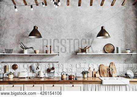 Vintage Kitchen Interior, Wooden Table And Cutlery, Noise