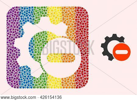 Dot Mosaic Remove Settings Gear Stencil Icon For Lgbt. Rainbow Colored Rounded Rectangle Mosaic Is A