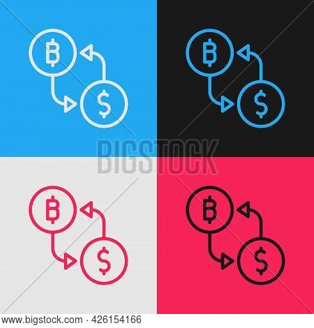 Pop Art Line Cryptocurrency Exchange Icon Isolated On Color Background. Bitcoin To Dollar Exchange I