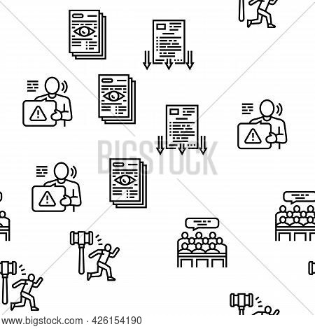Law Notary Advising Vector Seamless Pattern Thin Line Illustration