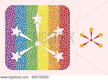 Dot Mosaic Star Fireworks Carved Icon For Lgbt. Colored Rounded Rectangle Mosaic Is Around Star Fire