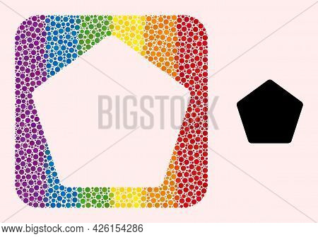 Dotted Mosaic Rounded Pentagon Stencil Pictogram For Lgbt. Color Rounded Square Mosaic Is Around Rou
