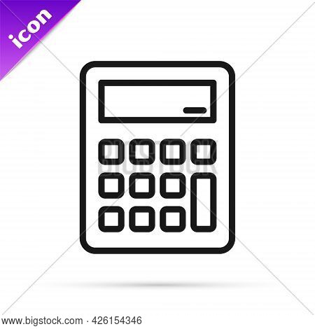 Black Line Calculator Icon Isolated On White Background. Accounting Symbol. Business Calculations Ma