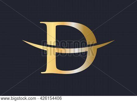 Initial Gold D Letter Logo Design. D Logo Design Vector Template