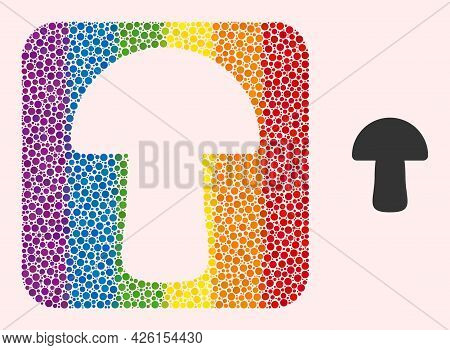 Dotted Mosaic Mushroom Subtracted Pictogram For Lgbt. Rainbow Colored Rounded Square Mosaic Is Aroun