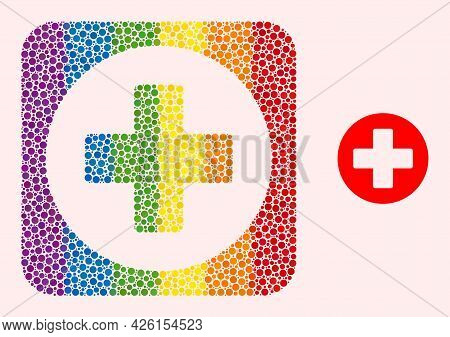Dot Mosaic Medicine Hole Pictogram For Lgbt. Multicolored Rounded Square Mosaic Is Around Medicine H