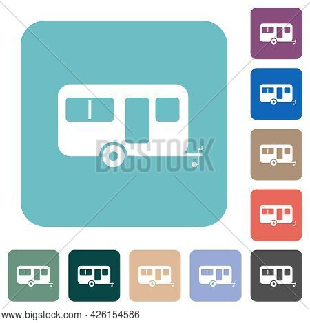 Caravan Trailer White Flat Icons On Color Rounded Square Backgrounds