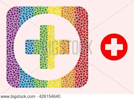 Dot Mosaic Healthcare Hole Icon For Lgbt. Colorful Rounded Rectangle Mosaic Is Around Healthcare Hol