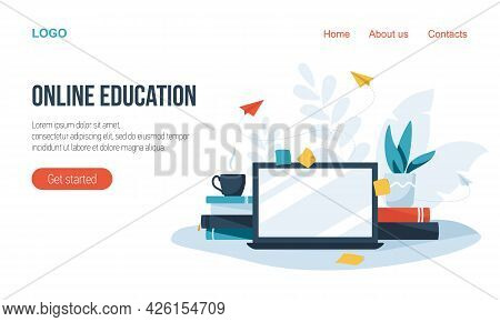Online Education Concept, Laptop, Book. E-learning. Landing Page. Online Education At Home