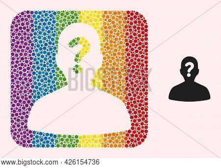 Dotted Mosaic Unknown Body Carved Icon For Lgbt. Rainbow Colored Rounded Rectangle Mosaic Is Around