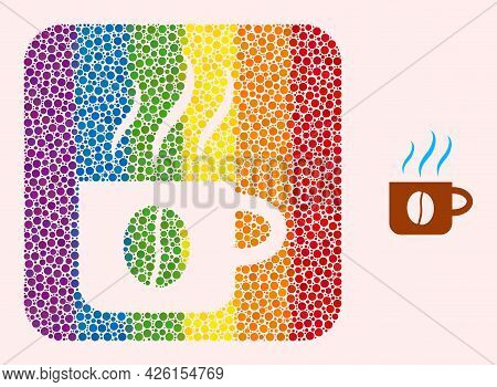 Dot Mosaic Hot Coffee Cup Subtracted Pictogram For Lgbt. Rainbow Colored Rounded Rectangle Mosaic Is