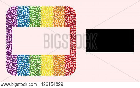 Dotted Mosaic Rectangle Carved Icon For Lgbt. Multicolored Rounded Square Mosaic Is Around Rectangle