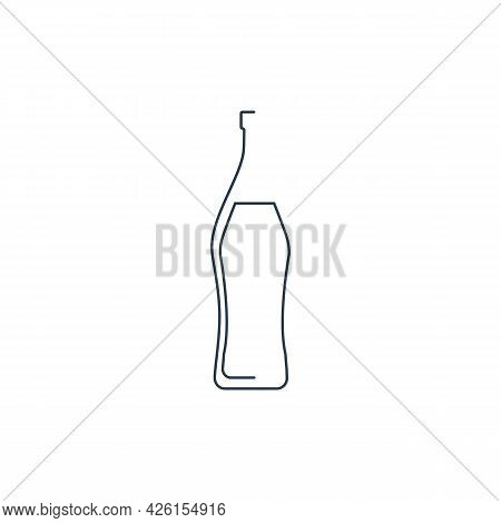 Bottle Continuous Line Vermouth In Linear Style On White Background. Solid Black Thin Outline. Moder