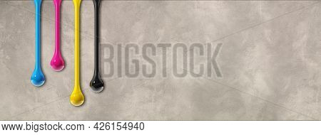 3d Cmyk Ink Drops Isolated On Grey Concrete Background. Horizontal Banner. Illustration
