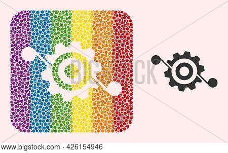 Dotted Mosaic Gear Solution Hole Icon For Lgbt. Rainbow Colored Rounded Rectangle Mosaic Is Around G