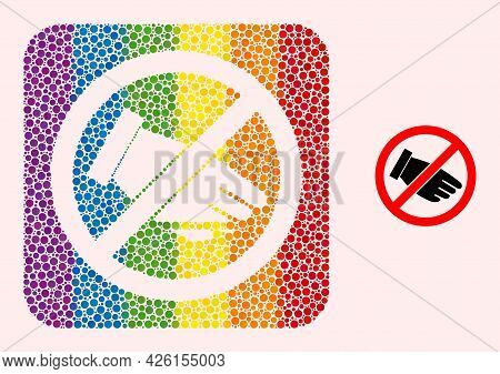Dot Mosaic No Hand Hole Pictogram For Lgbt. Rainbow Colored Rounded Square Mosaic Is Around No Hand