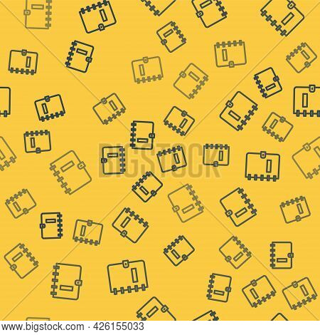 Blue Line Notebook Icon Isolated Seamless Pattern On Yellow Background. Spiral Notepad Icon. School