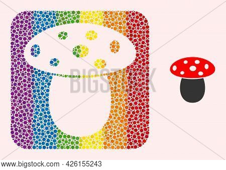 Dot Mosaic Mushroom Stencil Pictogram For Lgbt. Rainbow Colored Rounded Square Collage Is Around Mus