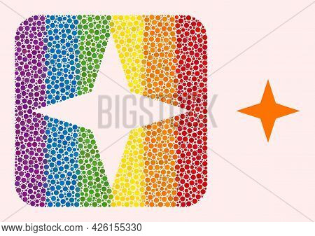 Dotted Mosaic Space Star Subtracted Icon For Lgbt. Colored Rounded Rectangle Mosaic Is Around Space