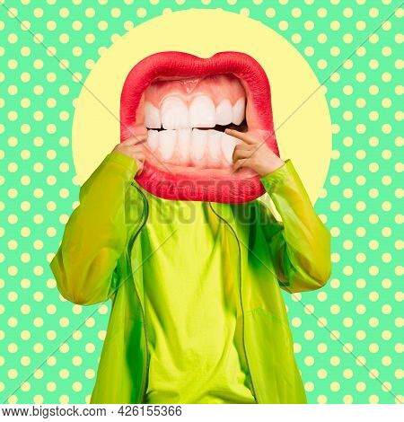 Contemporary Art Collage, Modern Design. Younf Man In Stylish Youth Clothes Headed Of Female Mouth,