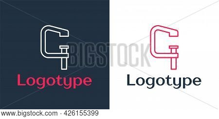 Logotype Line Clamp And Screw Tool Icon Isolated On White Background. Locksmith Tool. Logo Design Te