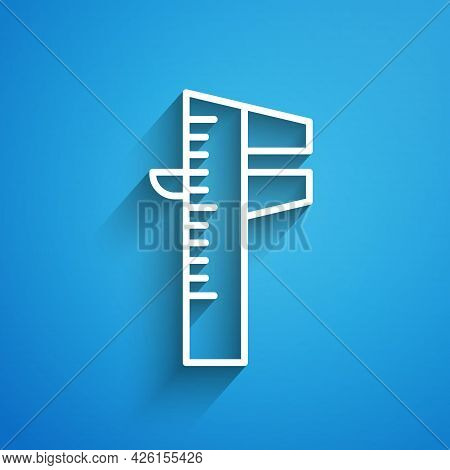 White Line Calliper Or Caliper And Scale Icon Isolated On Blue Background. Precision Measuring Tools