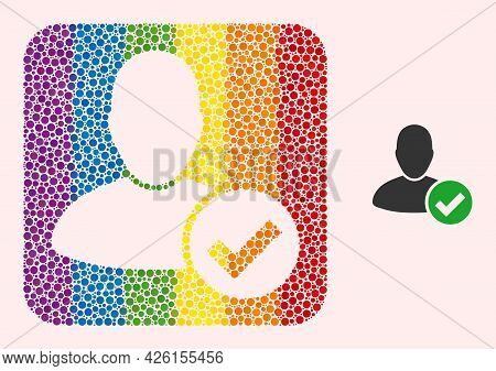 Dot Mosaic Valid User Hole Icon For Lgbt. Colored Rounded Square Mosaic Is Around Valid User Hole. L