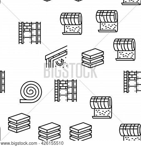 Mineral Wool Material Vector Seamless Pattern Thin Line Illustration