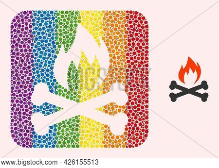 Dot Mosaic Hell Fire Bones Stencil Icon For Lgbt. Color Rounded Square Collage Is Around Hell Fire B