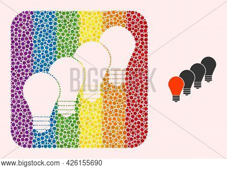 Dotted Mosaic Lamp Bulbs Carved Icon For Lgbt. Rainbow Colored Rounded Rectangle Collage Is Around L