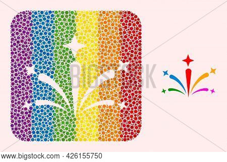 Dotted Mosaic Salute Fireworks Stencil Pictogram For Lgbt. Multicolored Rounded Square Mosaic Is Aro
