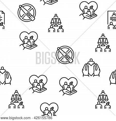 Child Adoption Care Vector Seamless Pattern Thin Line Illustration