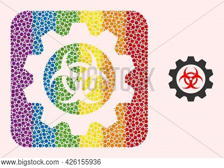 Dotted Mosaic Toxic Industry Stencil Pictogram For Lgbt. Colored Rounded Rectangle Mosaic Is Around